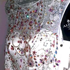 SIZE 4 white and petal pink bead dress